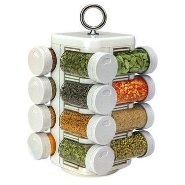 16 Jar Kitchen Mate Revolving Multipurpose Rack - White
