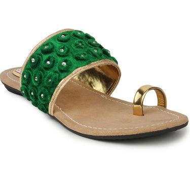 Do Bhai Faux Leather Flats KM-Bubble-Green
