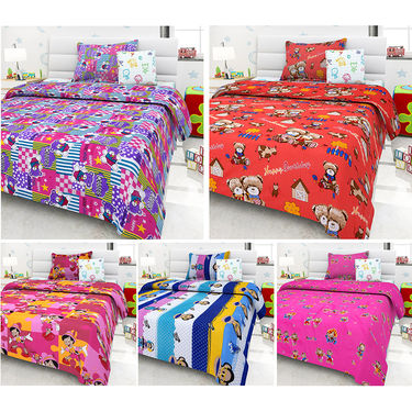 Set Of 5 Kids single Bedsheet With 5 Pillow Cover-KZ_1408_10