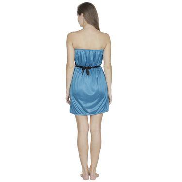 Klamotten Satin Plain Nightwear - Turquoise - N63_Trq