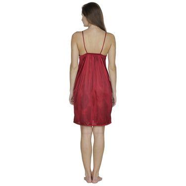 Klamotten Satin Plain Nightwear - Maroon - X01_Maroon