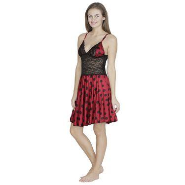 Klamotten Satin Plain Nightwear - Red - X07_Pol_Red