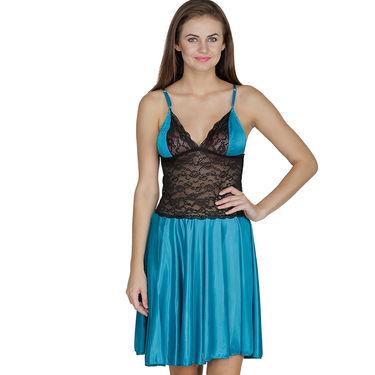 Klamotten Satin Plain Nightwear - Turquoise - X07_Trq