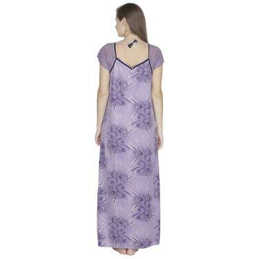 Klamotten Cotton Printed Nighty - Purple - X108_Pr_Prpl
