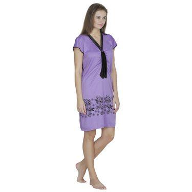Klamotten Cotton Plain Nighty - Purple - X130_Mauve