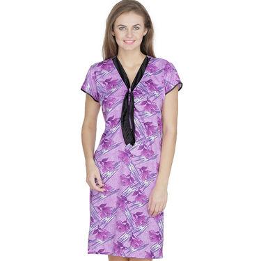 Klamotten Cotton Printed Nighty - Purple - X130_Pr_Prpl