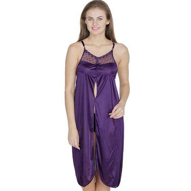 Klamotten Satin Plain Nighty - Purple - X41_Prpl