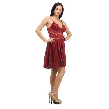 Klamotten Satin Plain Nightwear - Red - YY07