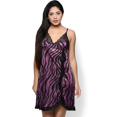 Klamotten Satin Animal Print Nightwear - Purple - YY103