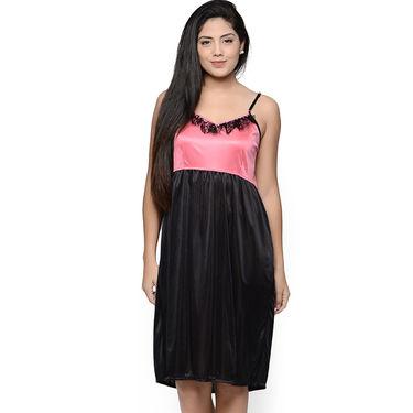 Klamotten Satin Plain Nightwear - Black - YY152