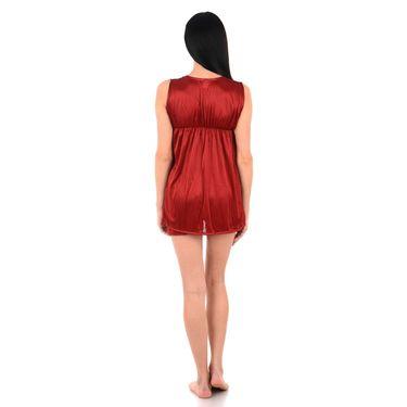 Klamotten Satin Plain Nightwear - Maroon - YY158