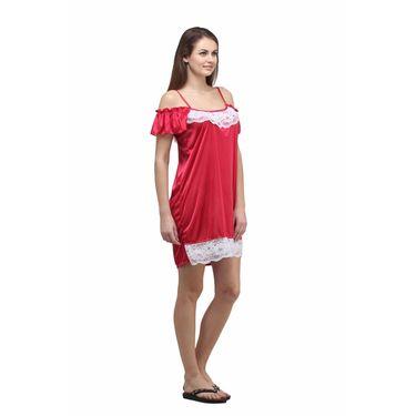 Klamotten Cotton Plain Nightwear - Red - YY17
