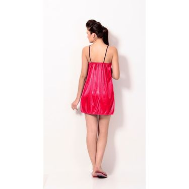 Klamotten Satin Plain Nightwear - Red - YY26