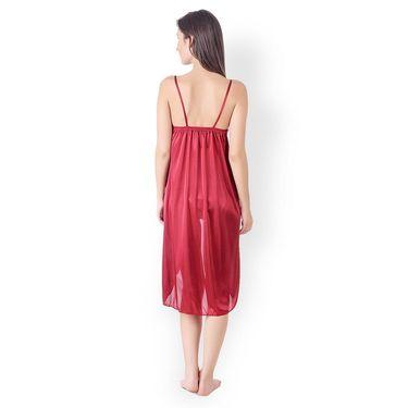 Klamotten Satin Plain Nightwear - Maroon - YY42