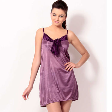 Klamotten Satin Plain Nightwear - Purple - YY57