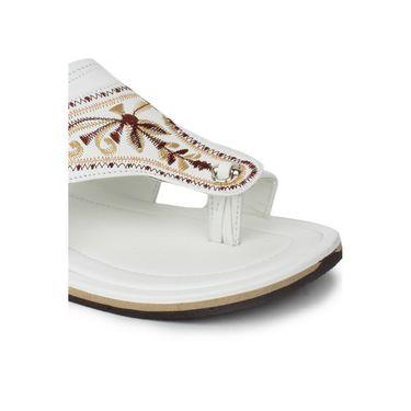 Do Bhai Synthetic Leather Ethnic Kolapuri-8862-White