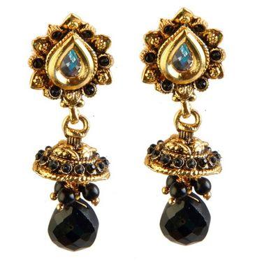 Kriaa Antique Gold jhumki Style Earrings - Black _ 1301818