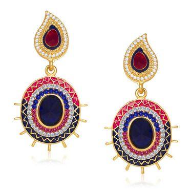 Kriaa Austrian Stone Gold Plated Earrings  - Pink & Blue _ 1304611