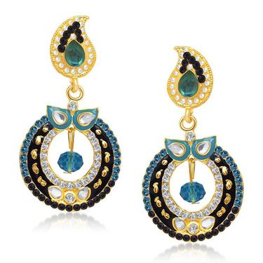 Kriaa Austrian Stone Gold Plated Earrings  - Blue & Black _ 1304619