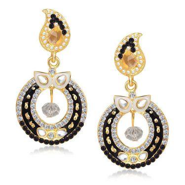 Kriaa Austrian Stone Gold Plated Earrings  - Purple & Yellow _ 1304622