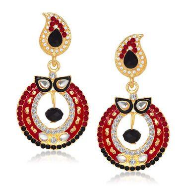 Kriaa Austrian Diamond Kundan Earrings - Red & Black _ 1304637