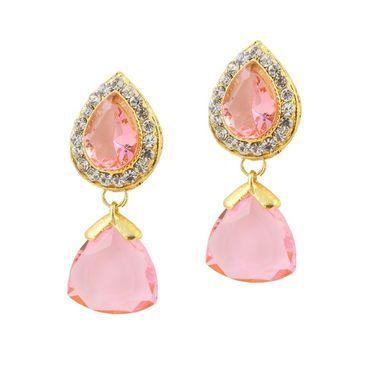 Kriaa Austrian Stone Pearl Gold Finish Dangle Earrings - Pink _ 1305801