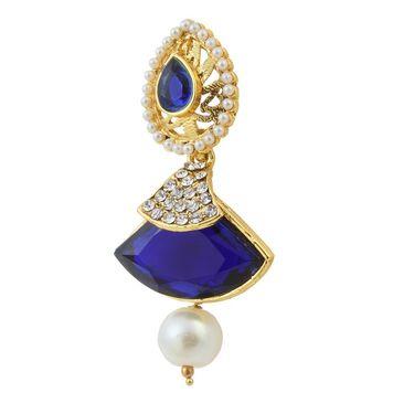 Kriaa Austrian Stone Pearl Gold Finish Dangle Earrings - Blue _ 1305809