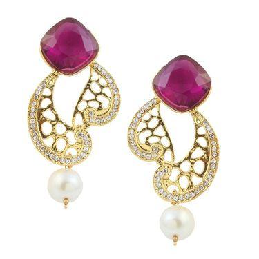 Kriaa Austrian Stone Pearl Drop Gold Finish Earrings - Purple _ 1305820