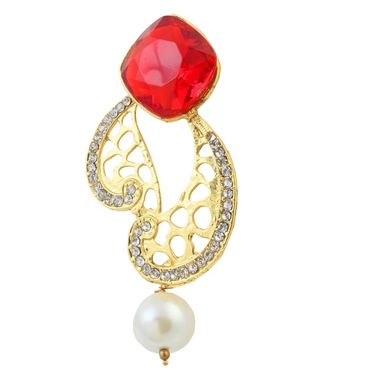 Kriaa Austrian Stone Pearl Drop Gold Finish Earrings - Red _ 1305823