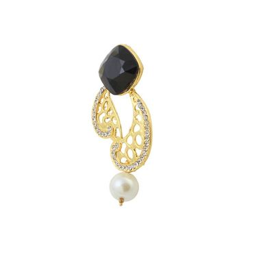 Kriaa Austrian Stone Pearl Drop Gold Finish Earrings - Black _ 1305824