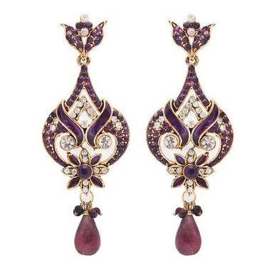 Kriaa Meenakari Austrian Stone Earrings - Purple _ 1300208