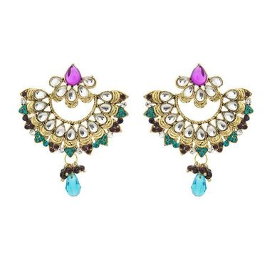 Kriaa Kundan Pearl Drop Earrings - Blue & Purple _ 1300325