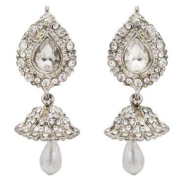 Kriaa Austrian Stone Kundan Jhumki Earrings - white _ 1300809