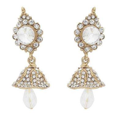 Kriaa Kundan Austrian Stone Jhumki Earrings - White _ 1300810
