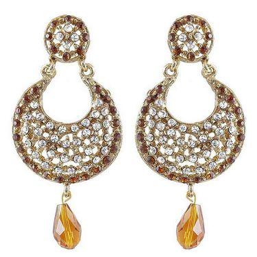 Kriaa Austrian Diamond Drop Earrings - Brown _ 1300909