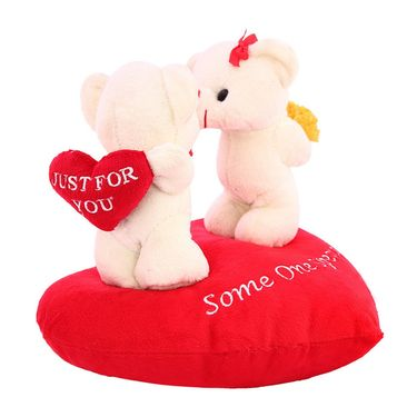 Valentine Stuff KissingCouple OnHeart Teddy Bear - Snow