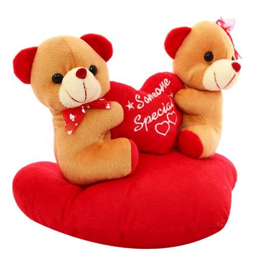 Heart Sofa Couple Valentine Stuff Teddy - Brown