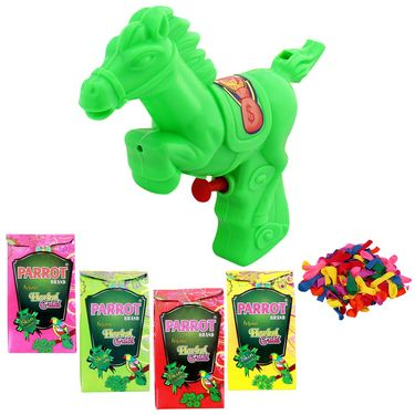 Holi Green Water Pichkari Horse Squirter With Tota Gulal Balloons 800-17 - 4TOTA