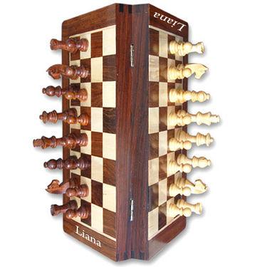 Liana Premium Magnetic 10 Inch Rectangle Chess Board - Brown