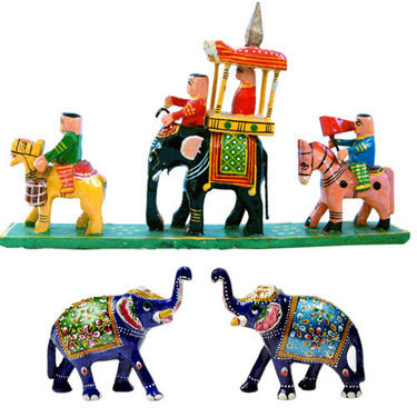 Little India Handpainted Elephant Pair