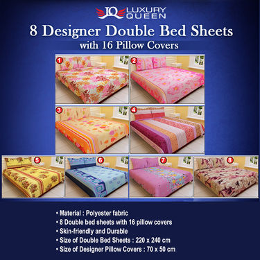 Luxury Queen 8 Designer Double Bed Sheets with 16 Pillow Covers (8BS12)