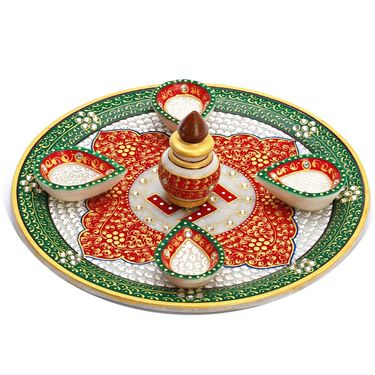 Red & Green Marble Pooja Thali with 4 Diya, 1 Kalash and Swastik Motifs-MAR15323