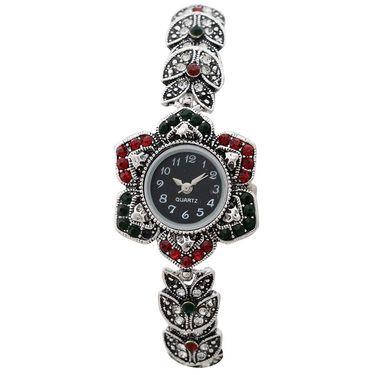 Branded Round Dial Bracelet Diamond Wrist Watch_Mgw05 - Black