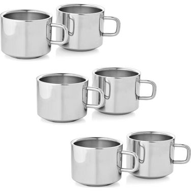 Mosaic Set of 6Pcs Straight Tea Cup - Silver
