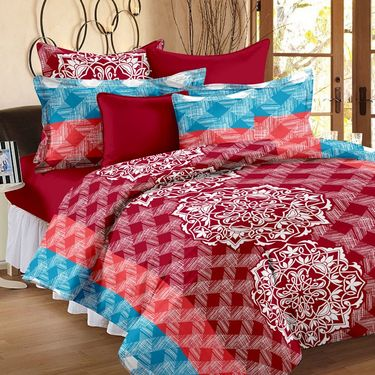 Storyathome 100% Cotton Double Bedsheet With 2 Pillow Cover-MP1208
