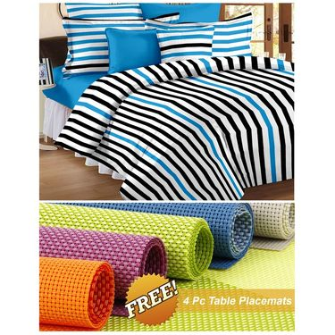 Storyathome White Striped 1 Double Bedsheet With 2 Pillow Cover -MT1202_TT