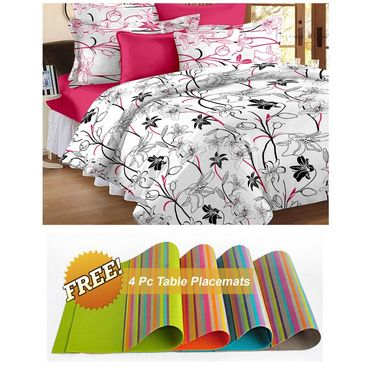 Storyathome White Floral 1 Double Bedsheet With 2 Pillow Cover -MT1206_TT