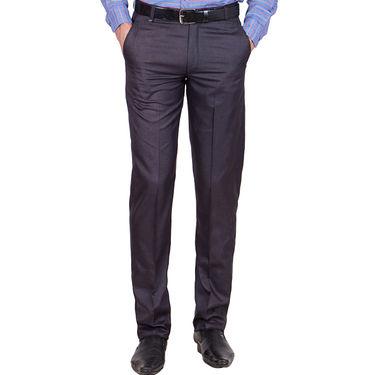 Tiger Grid Cotton Formal Trouser For Men_Md006 - Blue