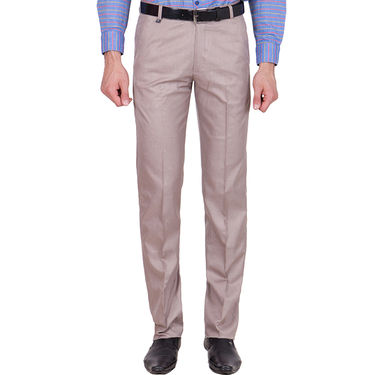 Tiger Grid Cotton Formal Trouser For Men_Md007 - Light Brown