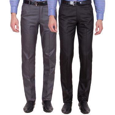 Tiger Grid Pack of 2 Cotton Formal Trouser For Men_Md012